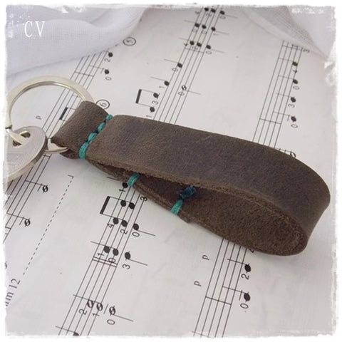Rustic Brown Leather Key Fob ~