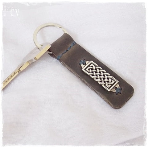Gaelic Knot Leather Keychain ~