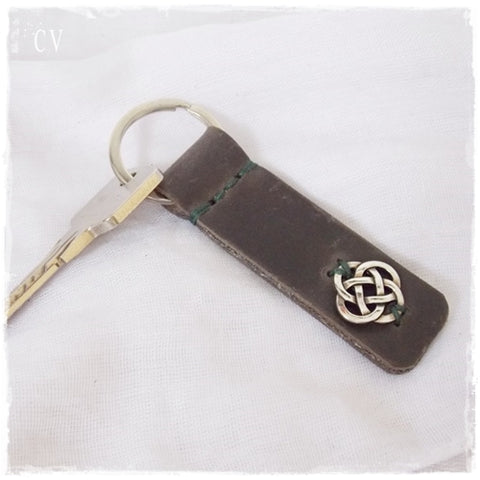 Celtic Knot Leather Keychain