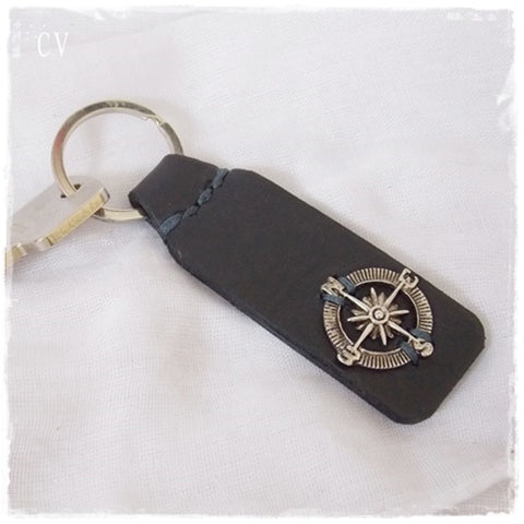 Compass Leather Keychain