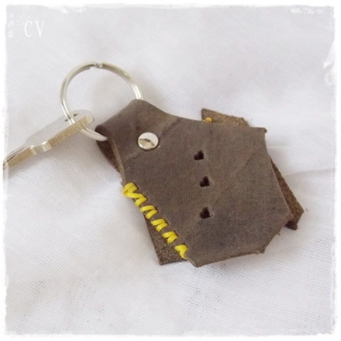 Up-cycled Boho Leather Keychain