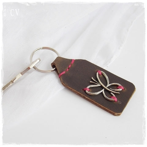 Monarch Butterfly Leather Keychain