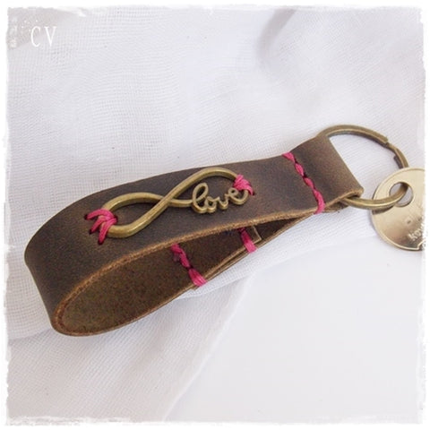 Love Infinity Leather Keychain