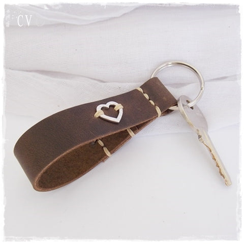 Hammered Heart Keychain ~