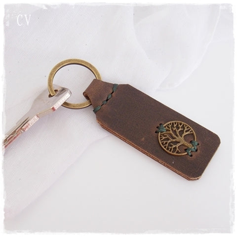 Tree Of Life Leather Keychain ~