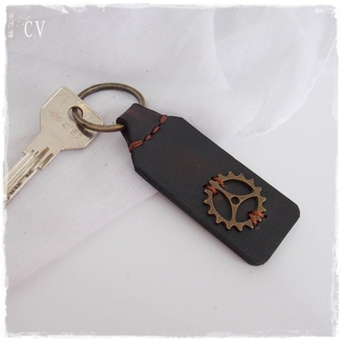 Steampunk Leather Keychain ~