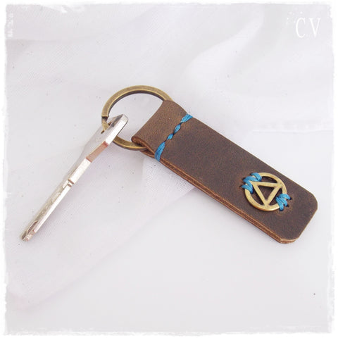 12 Steps Leather Keychain