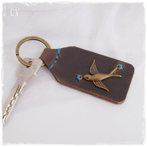Swallow Leather Keychain ~