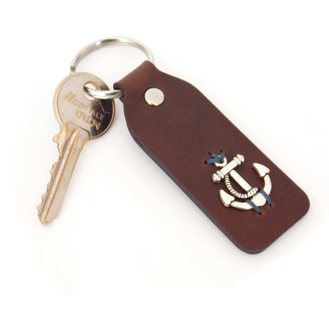 Engraved Anchor Nautical Keychain