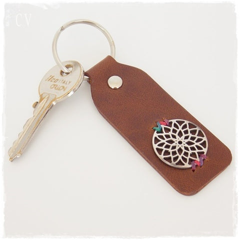 Mandala Leather Keychain