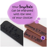 Engraved Leather Keychains