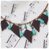 Up-Cycled Leather Bib Necklace