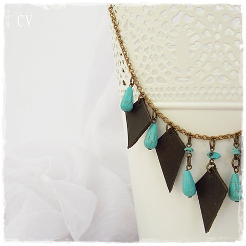 Beaded Turquoise Leather Gypsy Necklace
