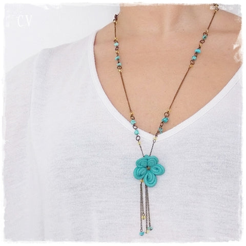 Bohemian Floral Turquoise Long Necklace