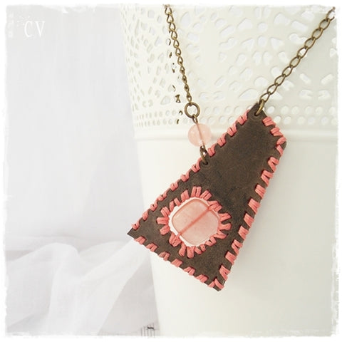 Tribal Gypsy Leather Pendant Necklace