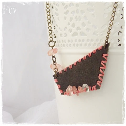 Up-Cycled Rustic Leather Bib Necklace with Agate