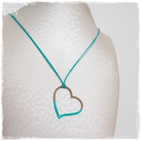 Minimal Turquoise Heart Necklace