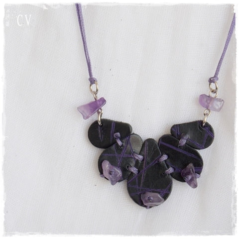 Amethyst Flower Bib Pendant Necklace