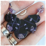 Gothic Spiritual Black Leather Pendant Necklace