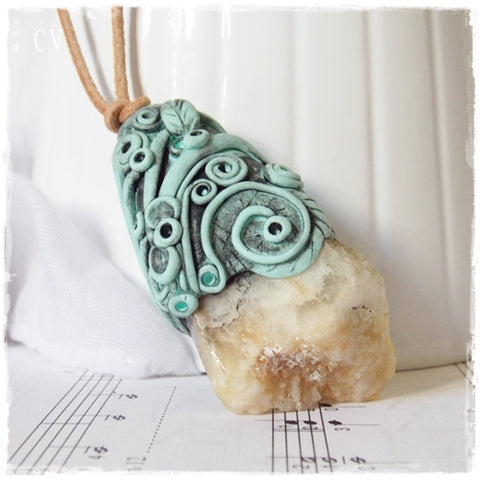 Raw Amazonite Pendant ~