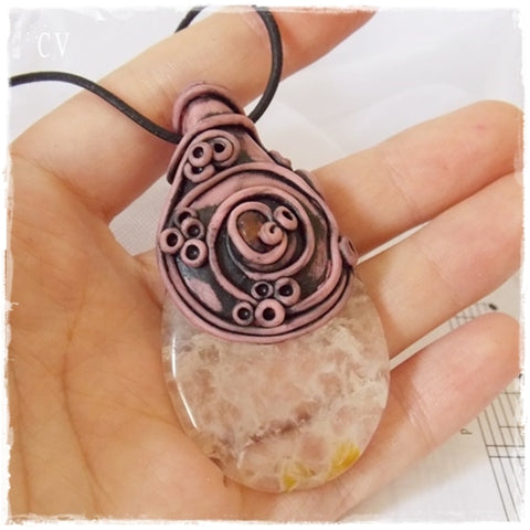Dragon's Veins Agate Polymer Clay Pendant ~