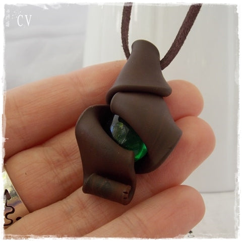 Forest Nymph Polymer Clay Pendant ~