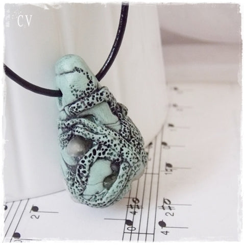 Raw Crystal Polymer Clay Pendant ~