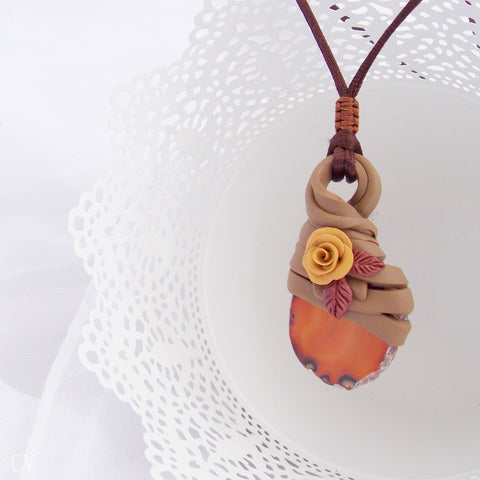 Polymer Clay Agate Stone Healing Pendant