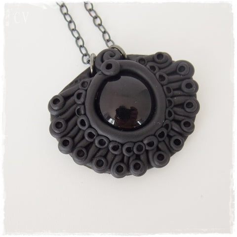 Black Polymer Clay Pendant Necklace