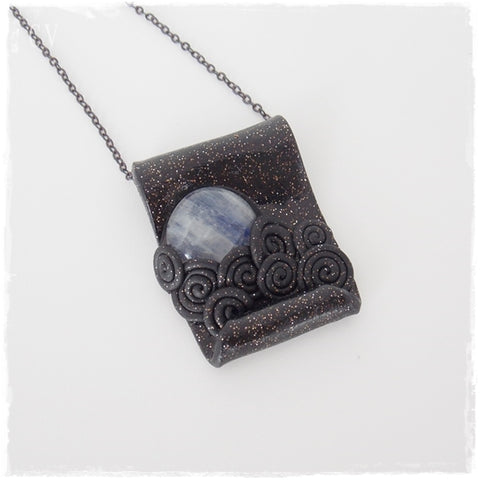 Cloudy Night Moonstone Polymer Clay Necklace