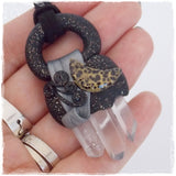 Point Quartz Crystal Crescent Moon Pendant