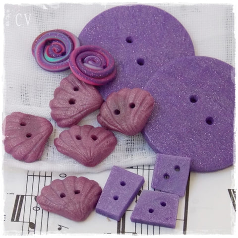 Purple Polymer Clay Buttons