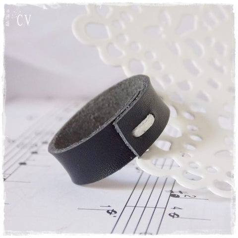 Minimal Black Leather Ring