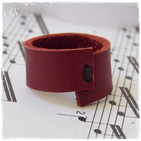 Wine Red Leather Ring