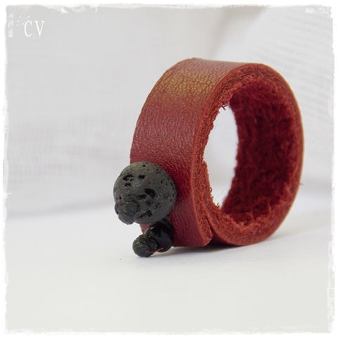 Volcanic Rock Leather Ring win Red