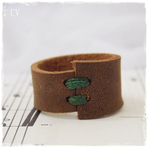 Brown Leather Ring
