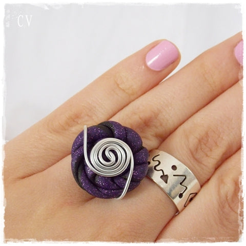 Gothic Polymer Clay Button Ring ~