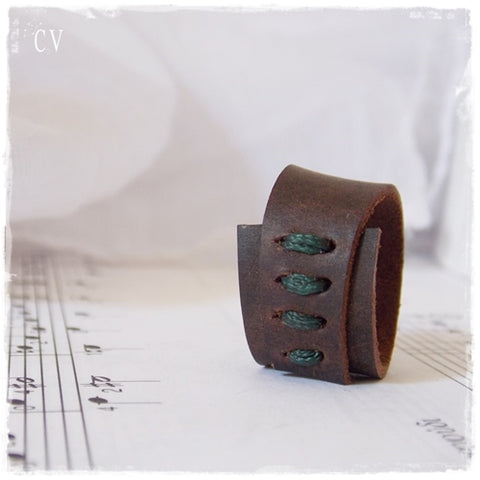 Rustic Brown Leather Ring for Him