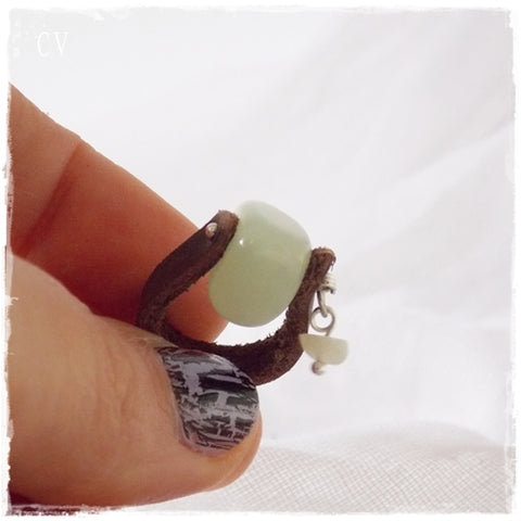 Jade Stone Leather Ring ~