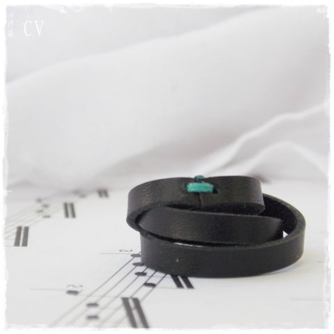 Braided Black Leather Ring ~