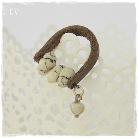 Natural Howlite Beaded Ring