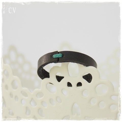 Dainty Black Leather Ring