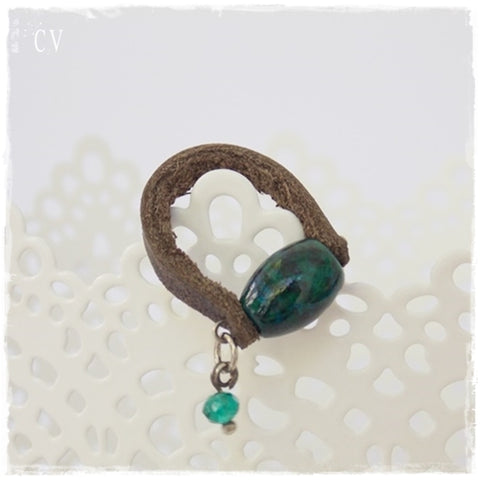 Chrysocolla Stone Leather Ring ~