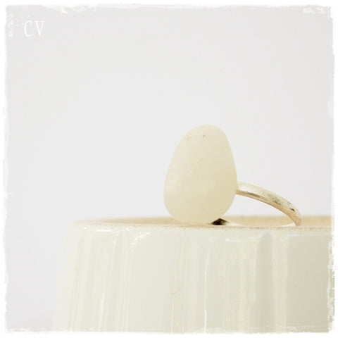 White Pebble Silver Ring