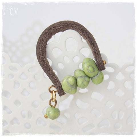 Lime Green Howlite Leather Ring