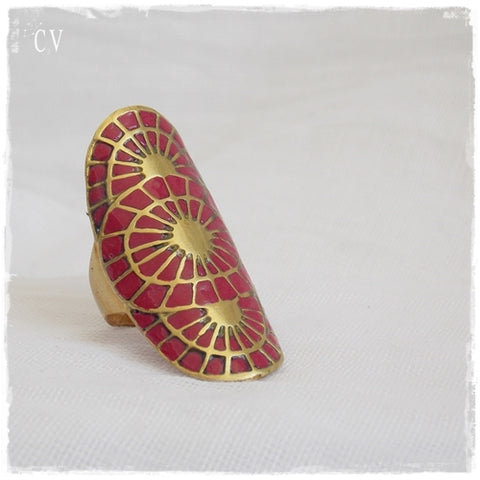 Ornate Brass Shield Ring