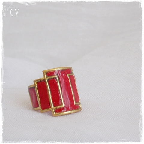 Bold Red Knuckle Ring