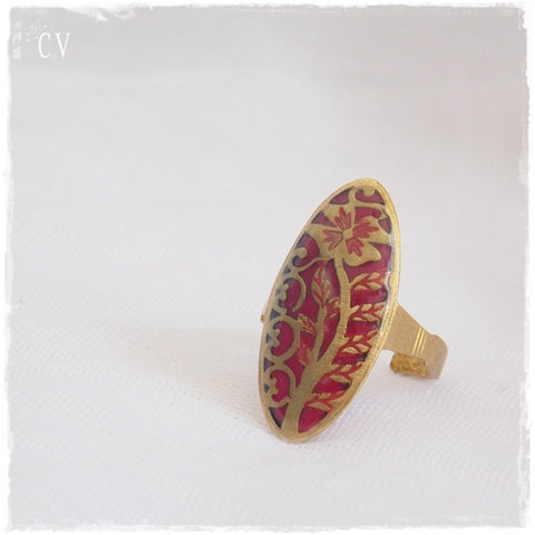 Red Vintage Brass Ring