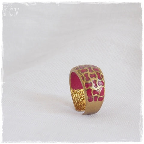 Wine Red Brass Cage Ring