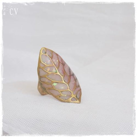 Iridescent Brass Leaf Ring
